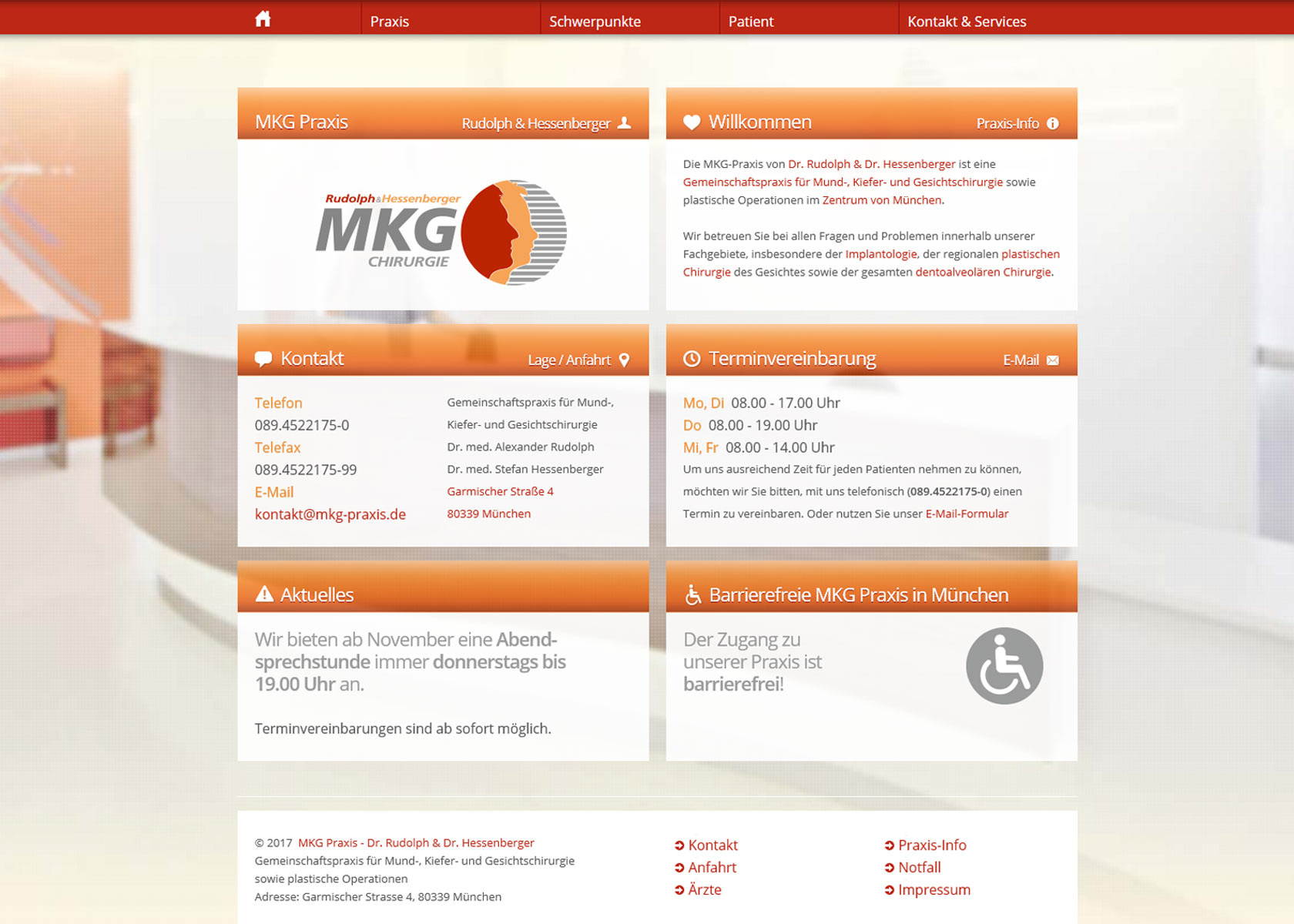 MKG Praxis Website (Screenshot)